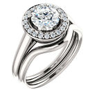 1ct 6.5mm Forever Brilliant Moissanite Solid 14K White Gold Engagement Ring Set