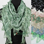 New Stylish Floral Print Chic Lace Trim Tassel Triangle Scarf Shawl Wrap