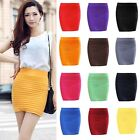 Elegant Women A Line Candy Color Stretch Mini Skirt Fitted Slim Tight Shorts