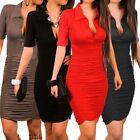Women Sexy Career Short Sleeve Cocktail Pleated Pencil Bodycon Mini Party Dress