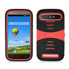 Boost Mobile ZTE Warp Sync Hard Gel Rubber KICKSTAND Case Cover