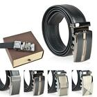 Fashion Genuine Leather Mens Black Alloy Automatic Buckle Waist Belts w Gift Box