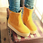 Sweet womens ankle boots Preppy faux suede candy color winter Boots shoes warm