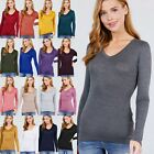 S M L Soft Stretchy V Neck Long Sleeve Layering Tee Rayon T Shirt Top  #RT-8058