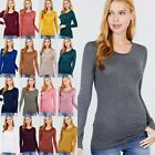 NEW WOMEN RAYON LONG SLEEVE SCOOP NECK TEE T-SHIRT TOP S M L ~12 COLORS #RT-8081