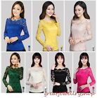 Elegant Women Floral Stretch Lace Blouse Top Delicate Short/Long Sleeve T-Shirts