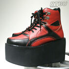 "10cm 4"" Handmade Cyber Punk Multi Color Black Red Vegan Hi Top Platform Sneaker"