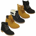 Ladies Boots Womens Shoes Military High Ankle Lace Up Buckle Fur Lined Winter