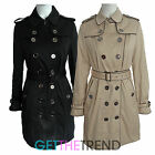 Womens Double Breasted Black Beige Office Work Mac Trench Coat Ladies Jacket
