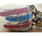 BRAND NEW SPARKLY DOG COLLAR SMALL MEDIUM LARGE GLITTER BLING GLITTER PINK BLUE
