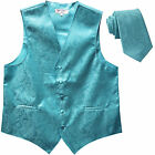 New Men's Formal Vest Tuxedo Waistcoat necktie paisley turquoise blue wedding