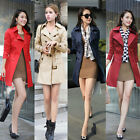 New Fashion Women Long Coat Double Breasted Belted Turn-Down Collar Trench Coat