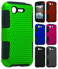 Lg Optimus Fuel L34C MESH Hybrid Silicone Rubber Skin Case Phone Cover Accessory