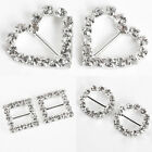 20 Diamante Diamond Rhinestone Buckle Ribbon Slider - Heart/Square/Round