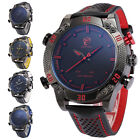 Shark Men's Leather LED Digital Date Day Analog Quartz Sport Army Wrist Watch image