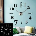 Luxury Chic DIY 3D Art Wall Clock Home Living Office Decoration Large Frameless