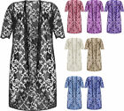 New Plus Size Womens Floral Lace Short Sleeve Open Ladies Long Cardigan 14 - 28