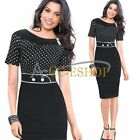 Women Vintage Pinup Polka Dot Celeb Style Party Work Cocktail Sheath Tunic Dress