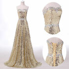 2015 Stunning Sequins Evening Formal Ball gown Wedding Party Prom Golden Dresses