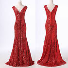 Sequins Mermaid Deep V Ball Gown Wedding Pageant Evening Prom Formal Party Dress