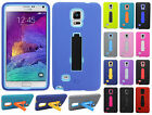 Samsung Galaxy Note 4 IMPACT Hard Rubber Case Cover Kickstand +Screen Protector