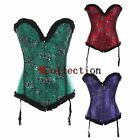 Sexy Satin Lace Overylay Hens Party Goth Basque Overbust Corset Tops Clubwear