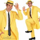 Mens Yellow Gangster Suit The Mask Fancy Dress Costume Jim Carrey Adult Outfit