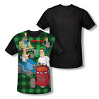 King of the Hill Cartoon Comedy TV Show Mowing&Drinking Adult Black Back T-Shirt