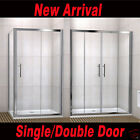 Single/Double Sliding Walk In Shower Enclosure Screen Door+Side Panel+Stone Tray