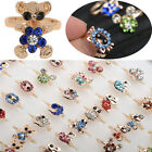 Wholesale 5X/20X Mix Lots Gold Cute Animal Kid Child Crystal Adjustable Rings