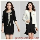 Elegant Women Faux Pearls Long Sleeve Short Jacket Coat Cardigan Outwear Tops