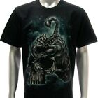r113 Sz M L XL Rock Eagle T-shirt Tattoo Skull Glow in Dark Scorpion Poison Punk