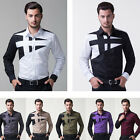 CHEAPEST Hot Men Slim Casual T-Shirt Shirts Splicing Dress Long Sleeve Tops S-XL