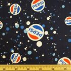 HUGE SALE Pepsi Cola Logo Fizzy Bubbles Soda Drink 100% Cotton Patchwork Fabric