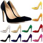 New Ladies Faux Velve High Heels Pointed Corset Work Pumps Shoes UK Size 2 - 9