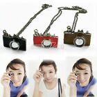 S0BZ 3 Color Sweet Mini Camera Retro Style Long Necklace Chain Cute Jewely New