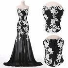 Lace Applique Mermaid Vintage 50s Formal Evening Long Gown Party Prom Ball Dress