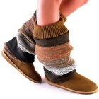 New Womens Brown Multicolor Leg Warmer Fleece Lined Boots