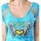 Sinful AFFLICTION Women T-Shirt Top MELODY Cut Out Shoulders HEART Biker UFC $58