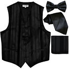 New Men's stripes Tuxedo Vest Waistcoat  necktie  Bow tie  Hankie Black party