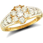 Jewelco London 9ct Solid Gold CZ set cluster Ring with stone set shoulders