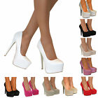 WOMENS STILETTO GLITTER HIGH HEELS PLATFORM POINTED COURT PARTY SHOES PUMPS SIZE