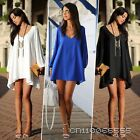 Women Casual Long Sleeve Loose Novelty Clubwear Evening Party Sexy Dress Blue