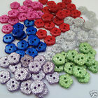 10 glittery flower buttons blue red green pink red...  size 18  11.5 mm