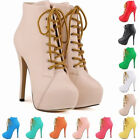 Womens High Heels Lace Up Sexy Court Stiletto Ankle Boots Matt Shoes Size UK2-9