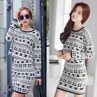 New Style 2 Pcs Set Lady Women Xmas Long Sleeve Slim Tops T-Shirt + Short Dress