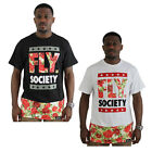 Fly Society Rosary Long Tee Men's Extended Length Floral Short Sleeve