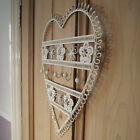 BEAUTIFUL METAL HEART SHAPED KEY / TOWEL / COAT HOLDER - FLORAL PATTERN