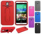 For HTC Desire 610 Rubber Hybrid HARD Case Cover with Snap Tail STAND Accessory