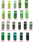"25y 50y 100y 9mm 3/8"" Green Shades Premium Double Faced Satin Ribbon Craft Eco"
